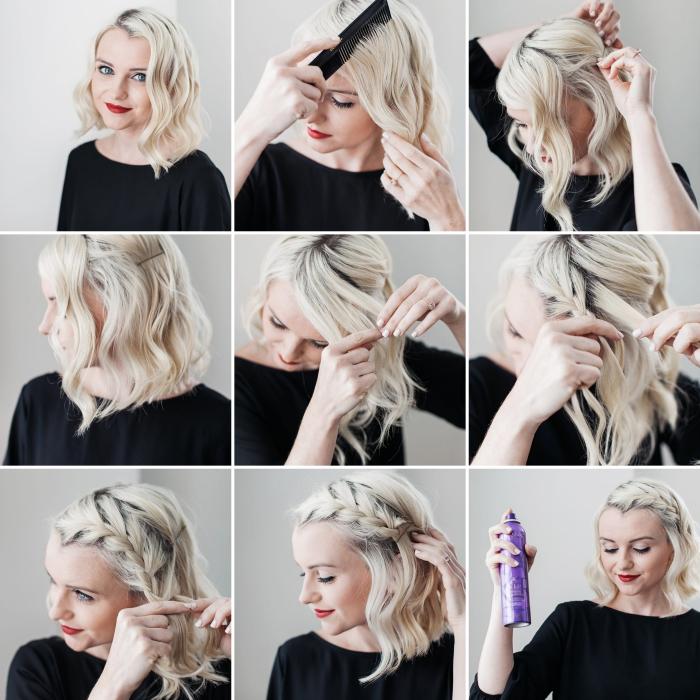 tutoriel coiffure facile aux cheveux lâchés, exemple comment bien se coiffer, pas à pas coiffure cheveux bouclés avec tresse sur côté