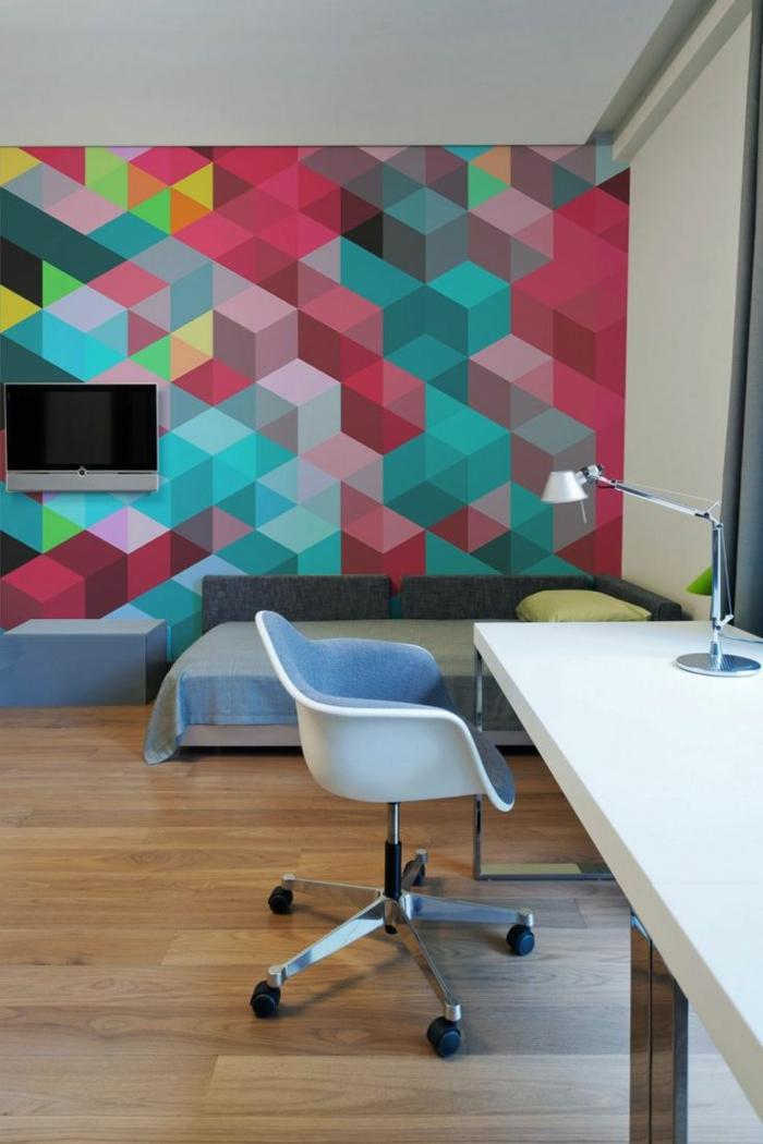 comment-papier-peint-geometrique-tapisserie-leroy-merlin-colorée-dans-le-salon-moderne