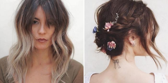 idée de coiffure cheveux attachés simple pour mariage bohème, idée coloration tendance ombré naturel sur brunette