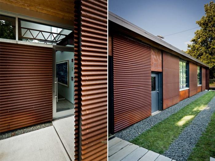 Toit de maison moderne en Acier Corten