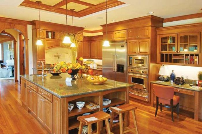 couleur-cuisine-feng-shui-moderne-avec-ilot-central-de-cuisine-parquet-en-bois-naturel-clair