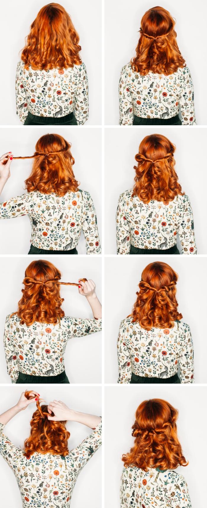 tuto coiffure facile, exemple comment faire une coiffure aux cheveux lâchés bouclés avec couronne mèches twistée