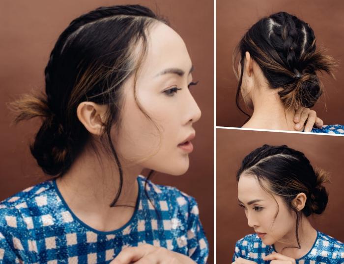 exemple comment s attacher les cheveux mi longs, coiffure cheveux en chignon bas avec deux tresses et mèches tombantes