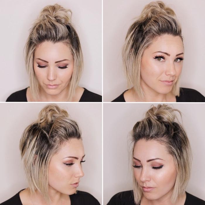 tutoriel cheveux mi longs mi attachés, idée coiffure facile a faire seule, comment faire un semi pin up sur carré mi long