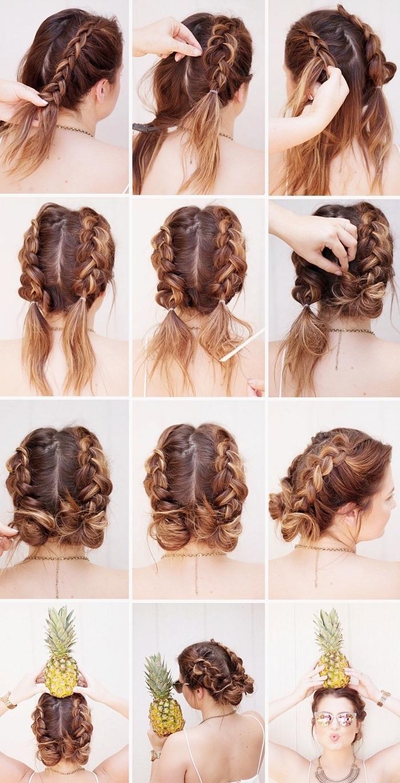 coiffure a faire soi meme, exemple coiffure cheveux mi longs en deux tresse, diy coiffure ado pour l'été avec tresse collé