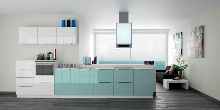 cuisine-blanche-bleu-ciel-meubles-de-cuisine-laqués-sol-en-planchers-gris