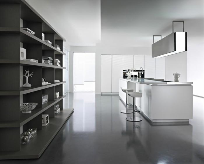 cuisine dessin cuisine blanc laqu sol gris la cuisine laque - Cuisine Blanc Gris Taupe