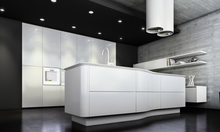 Charmant Cuisine Blanche Avec Ilot Central #10: Cuisine-blanche-laquée-pas-cher-maison-contemporaine-avec-sol-noir-mur-avec-planchers-gris.jpg