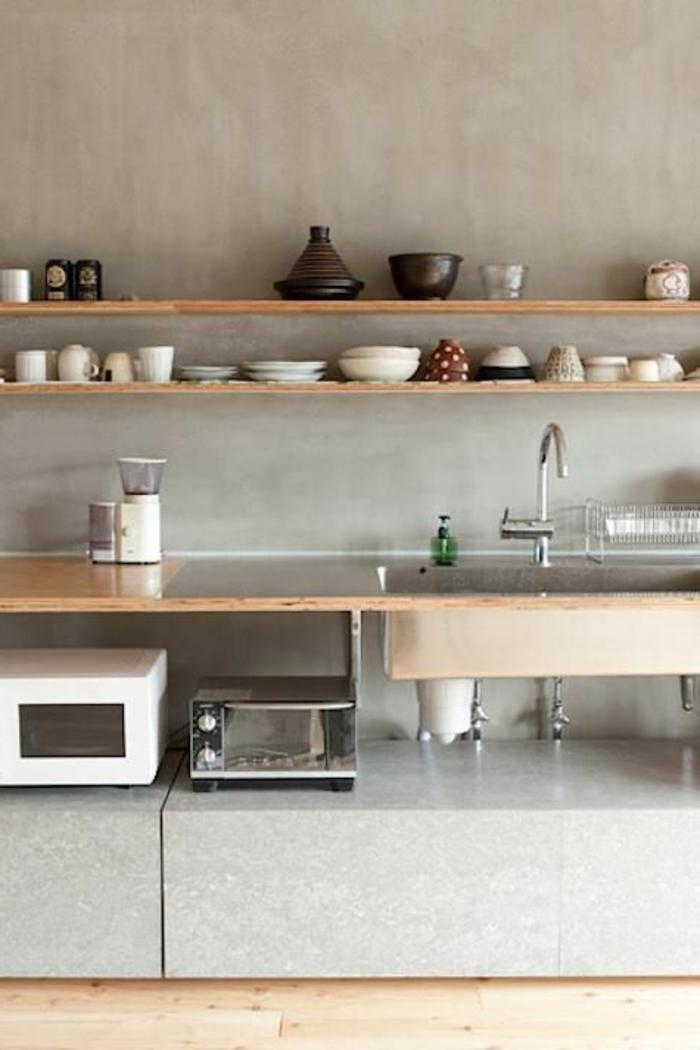 cuisine-de-style-zen-meubles-de-cuisine-en-bois-clair-sol-en-parquet-clair