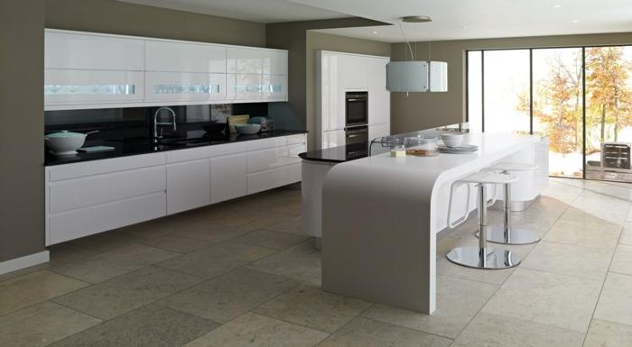 cuisine-laquée-noire-blanche-pas-cher-meubles-de-cuisine-laqués-carrelage-gris