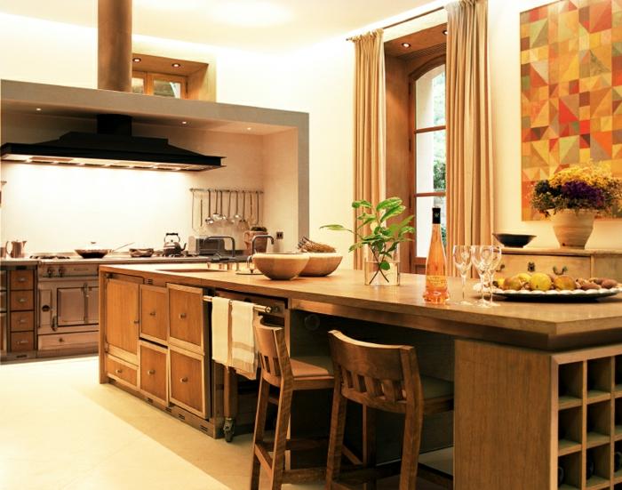 cuisine-style-campagne-îlot-de-cuisine-central'en-bois