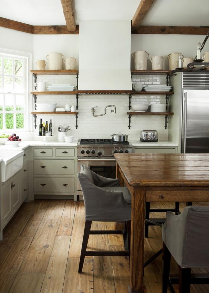 cuisine-style-campagne-cuisine-loft-déco-bois-avec-blanc