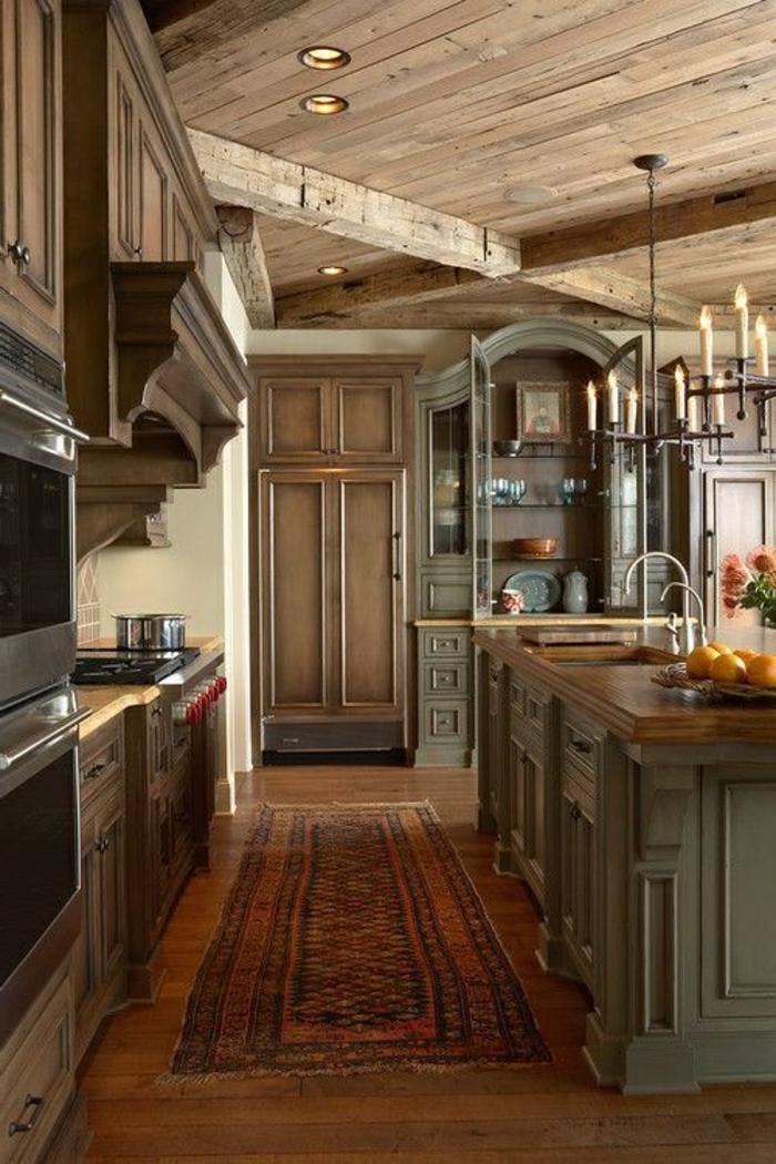 cuisine-style-campagne-cuisine-vintage-comptoir-en-bois-et-bleu
