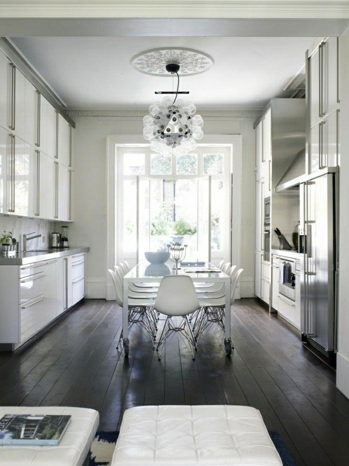 des-photos-cuisine-blanche-cuisine-moderne-idées-cuisine-lustre-originale