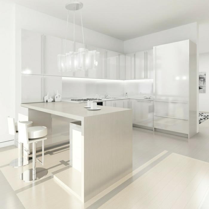 des-photos-cuisine-blanche-cuisine-moderne-idées-cuisine-totalement-blanc