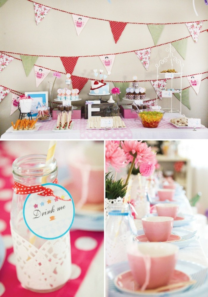 disney-alice-au-pays-des-merveilles-gâteau-anniversaire-fête-décoration-en-rose