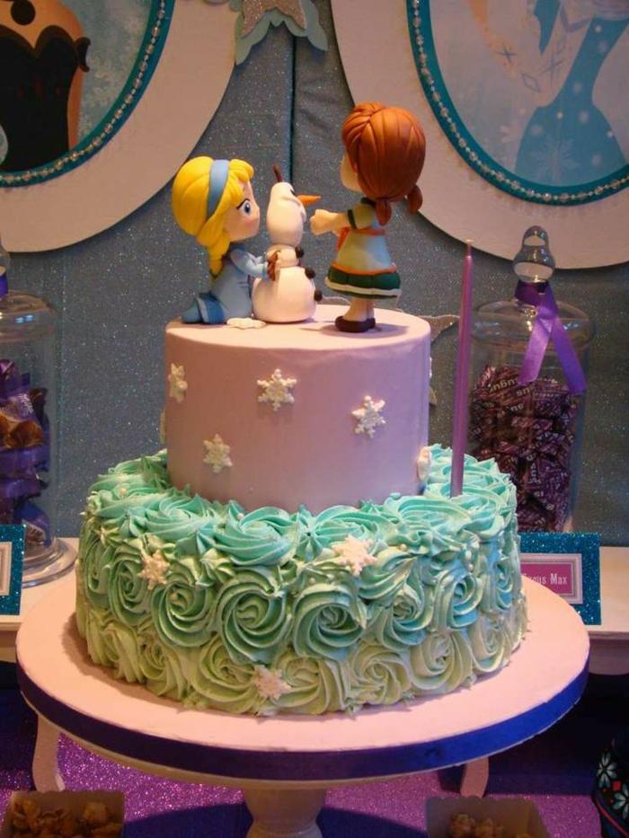 frozen-la-reine-des-neiges-gâteau-anniversaire-fille-image-de-gateau-elsa-et-anne-petits