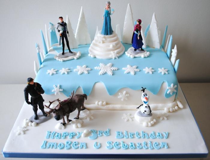 gateau-anniversaire-la-reine-des-neiges-idées-déco-la-reine-des-neiges-gateau-fondant
