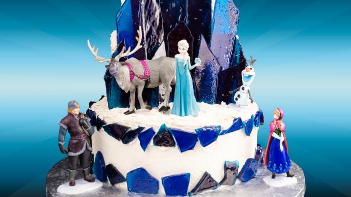 gateau-anniversaire-la-reine-des-neiges-idées-déco-la-reine-des-neiges-gateau-glace-sucre