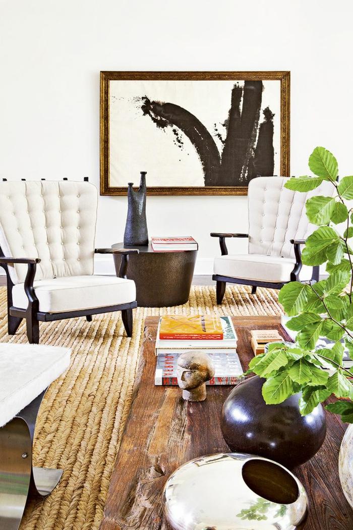 le tapis jonc de mer pour le salon classique en 60 belles. Black Bedroom Furniture Sets. Home Design Ideas