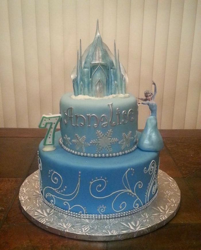 idée,déco,gâteau,anniversaire,fille,reine,des,neiges,