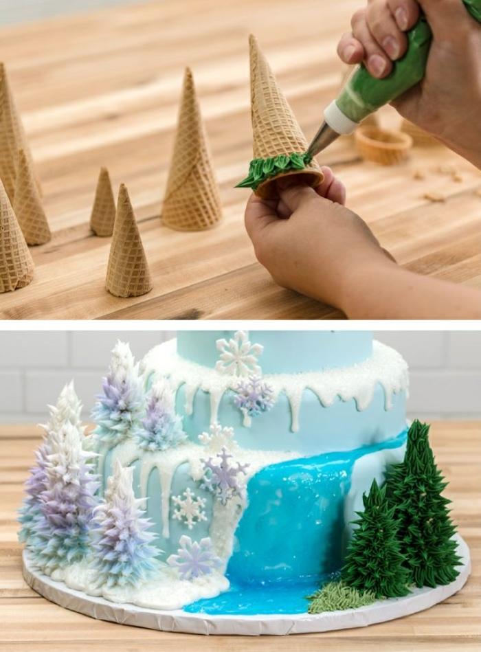 idée-déco-gâteau-anniversaire-fille-reine-des-neiges-gateaux-idées-comment-faire-à-soi-meme