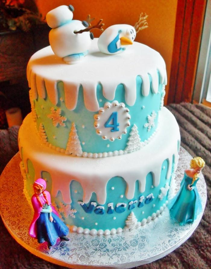 idée-déco-gâteau-anniversaire-fille-reine-des-neiges-gateaux-idées-cool-olaf-gâteau