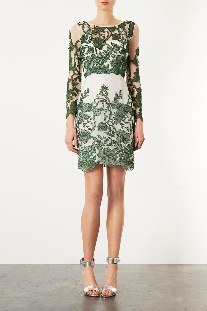 idée-de-robe-droite-fluide-tenue-de-jour-robe-femme-élégante-vert-dentelle