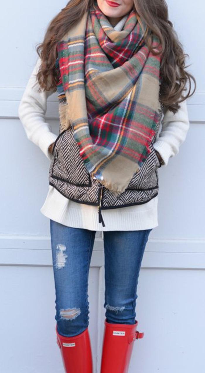 idées-bottes-aigle-après-ski-femme-s-habiller-bien-jour-froid-rouges