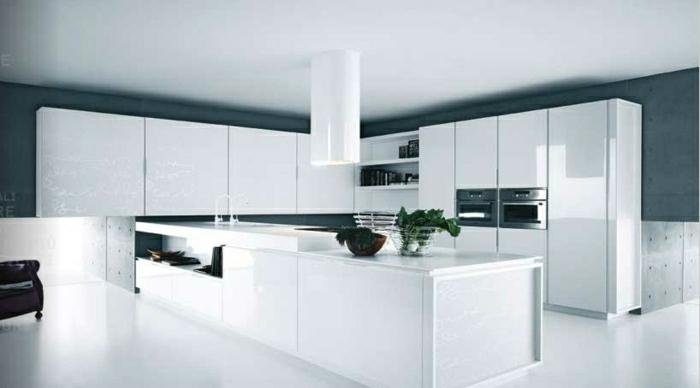 La cuisine blanche laqu e en 35 photos qui vont vous inspirer for Idee deco mur cuisine