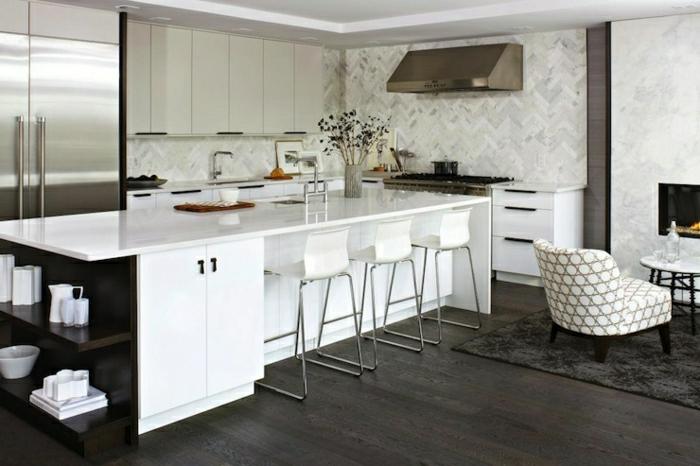 idee-deco-cuisine-photo-cuisine-blanc-laqué-aménagement-papiers-peintes