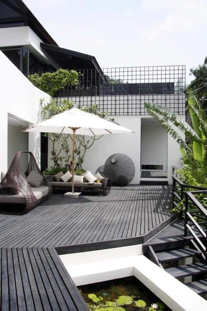 idee-deco-jardin-exterieur-avec-meubles-en-bois-gris-mobiliers-d ...