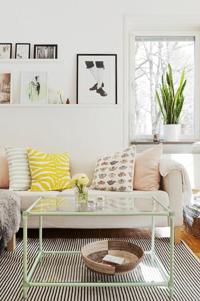 joli-salon-idee-de-deco-salon-avec-tapis-à-rayures-blanches-noires-table-de-salon-verre