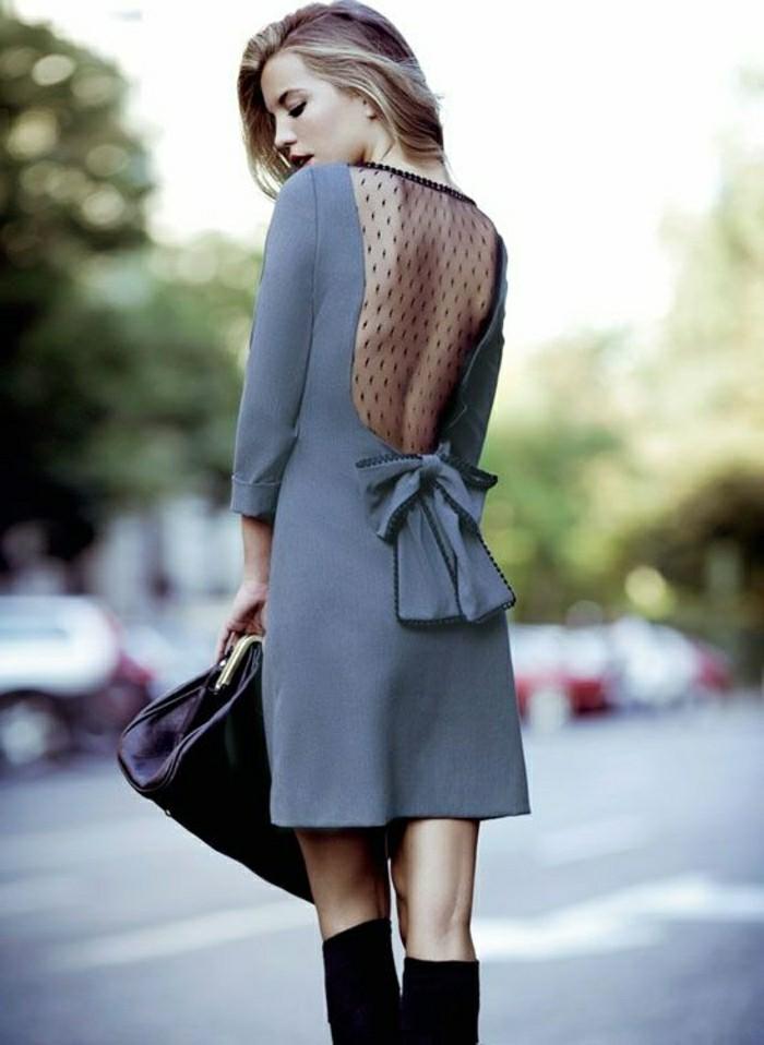 jolie-robe-cocktail-court-pas-cher-gris-avec-dos-dentelle-noir-cheveux-blonds