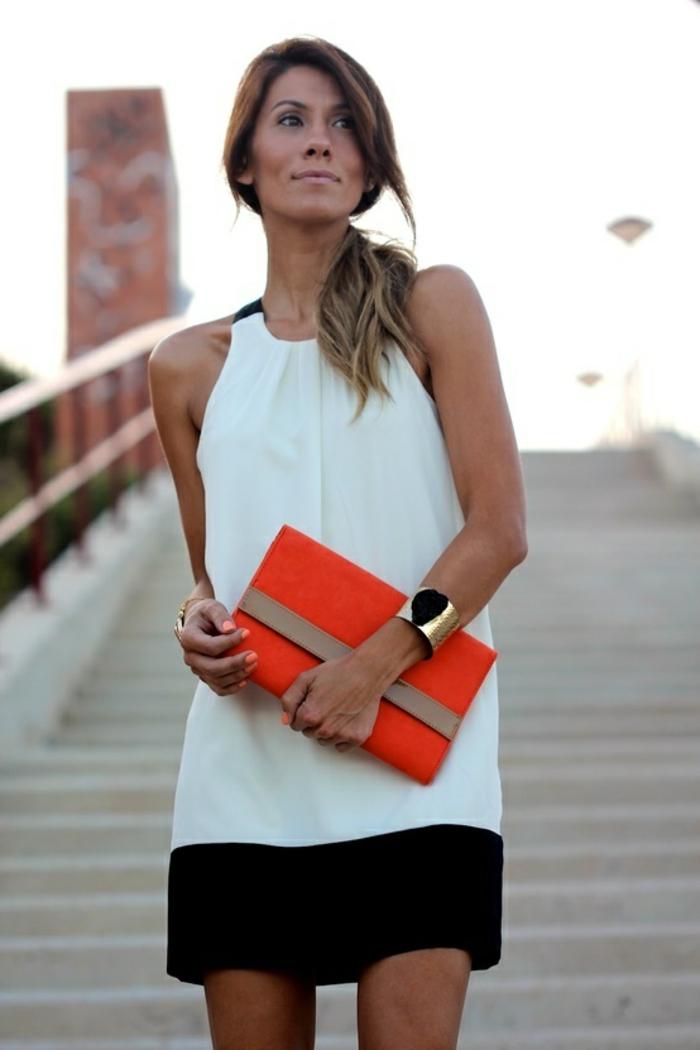 jolie-robe-de-soirée-courte-blanche-et-noire-pour-les-filles-modernes-avec-sac-a-main-orange