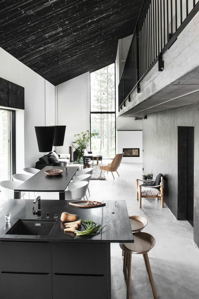 kitchenette-leroy-merlin-avec-meubles-noires-table-en-bois-noir-et-chaises-d-intérieur