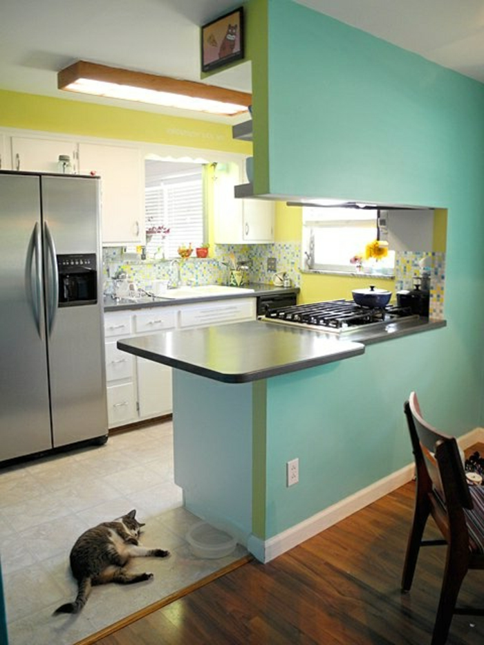 la-cuisine-americaine-murs-bleus-ciel-sol-en-parquet-foncé-cuisine-moderne