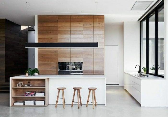 La cuisine blanche laqu e en 35 photos qui vont vous for Cuisine blanche et bois