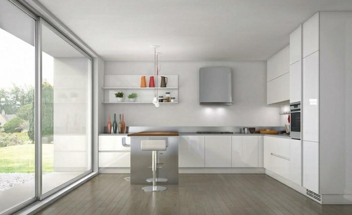 la cuisine blanche et bois image cuisine laque