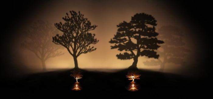 le-cadeau-noel-belle-mere-bougie-projecteur-arbre-sombre-sur-mur