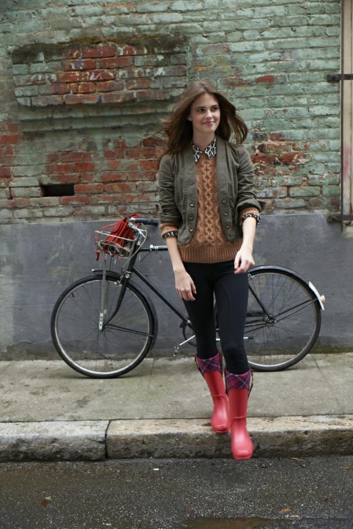 les-bottes-caoutchouc-bottines-de-pluie-femme-confort-bicyclette