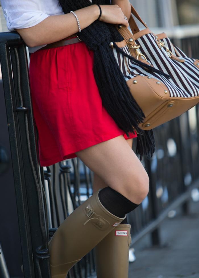 les-bottes-caoutchouc-bottines-de-pluie-femme-confort-jupe-rouge
