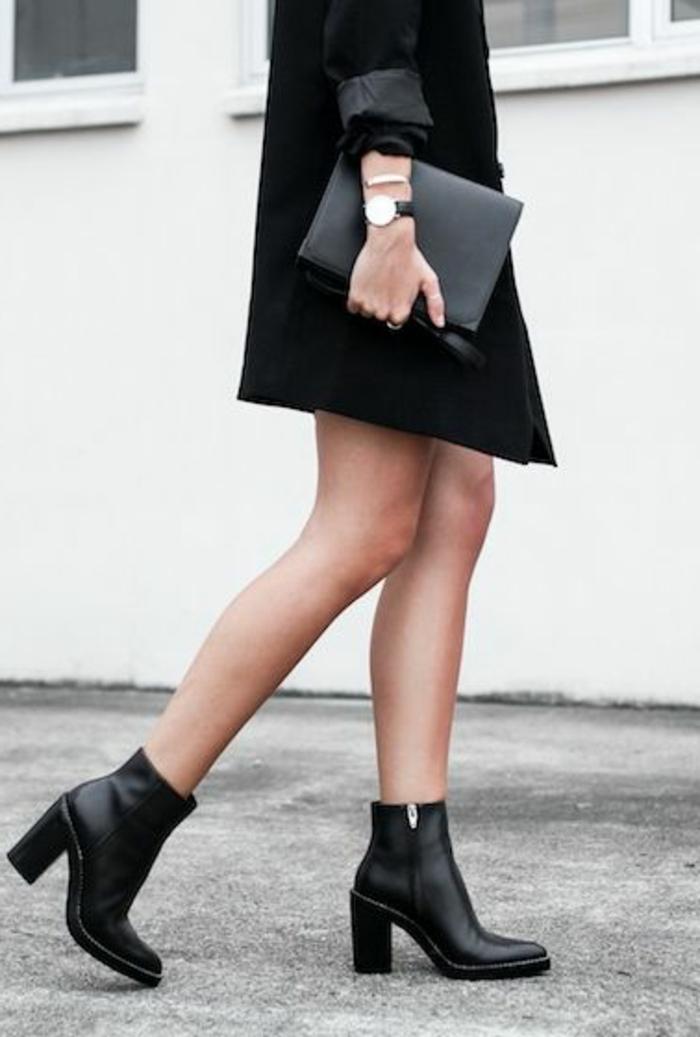 les-bottes-noires-en-cuir-noir-la-mode-élégante-avec-vetements-noirs-bottine-pas-cher