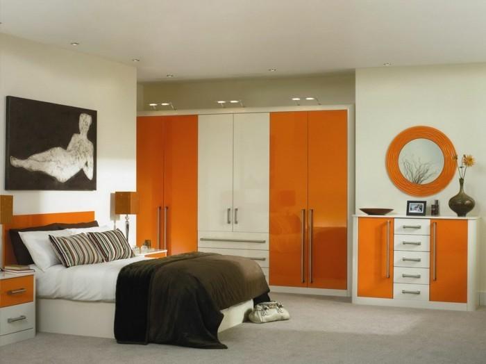 lit-adulte-dans-la-chambre-a-coucher-but-idées-intérieur-stylé-moderne-en-orange-et-brun