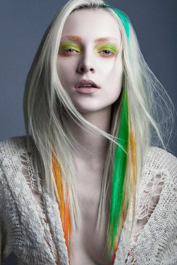 maquillage-artistique-professionnel-cheveux-blancs-avec-un-maquillage-vert