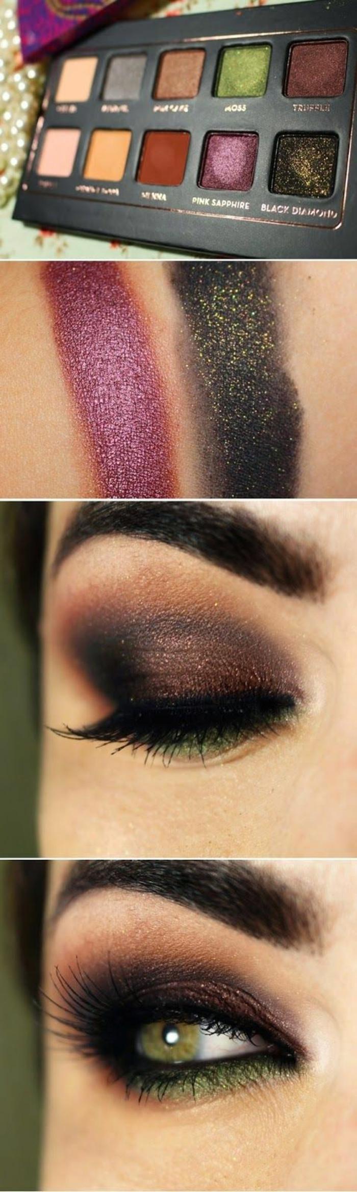 maquillage-pour-yeux-vert-maquillage-des-yeux-verts-ligneur-noir-comment-faire-à-soi-meme-resized