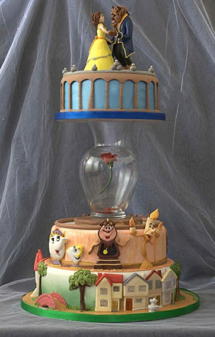 mariée-le-gâteau-de-mariage-inspiré-par-Belle-et-la-Bête-disney-à-la-magie