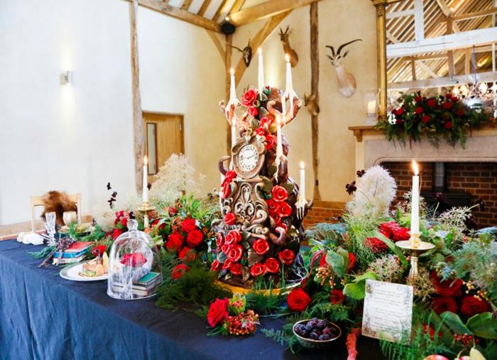 mariage-conte-de-fée-la-belle-et-la-bête-disney-déco-festive-décoration-table-le-gateau