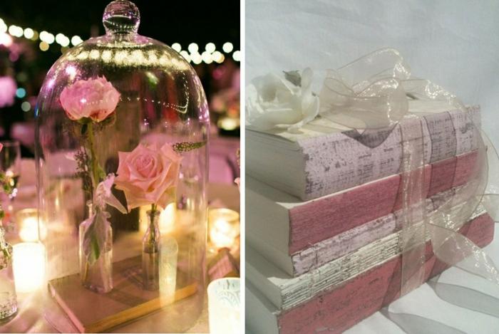 mariage-conte-de-fée-la-belle-et-la-bête-disney-déco-festive-décoration-table-rose-pale