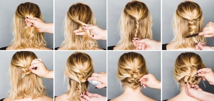 tutoriel coiffure cheveux mi longs, pas à pas coiffure cheveux attachés, comment faire un chignon bas loose avec mèches torsadées, exemple comment attacher ses cheveux mi long